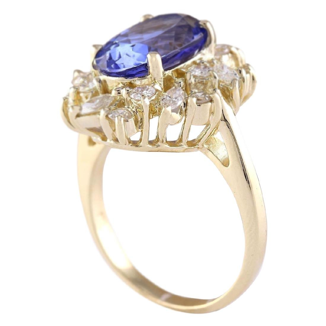 6.58 CTW Natural Tanzanite And Diamond Ring In 18K - 3