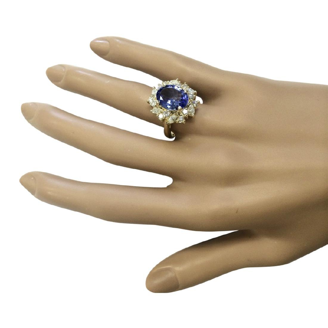 6.58 CTW Natural Tanzanite And Diamond Ring In 18K - 4