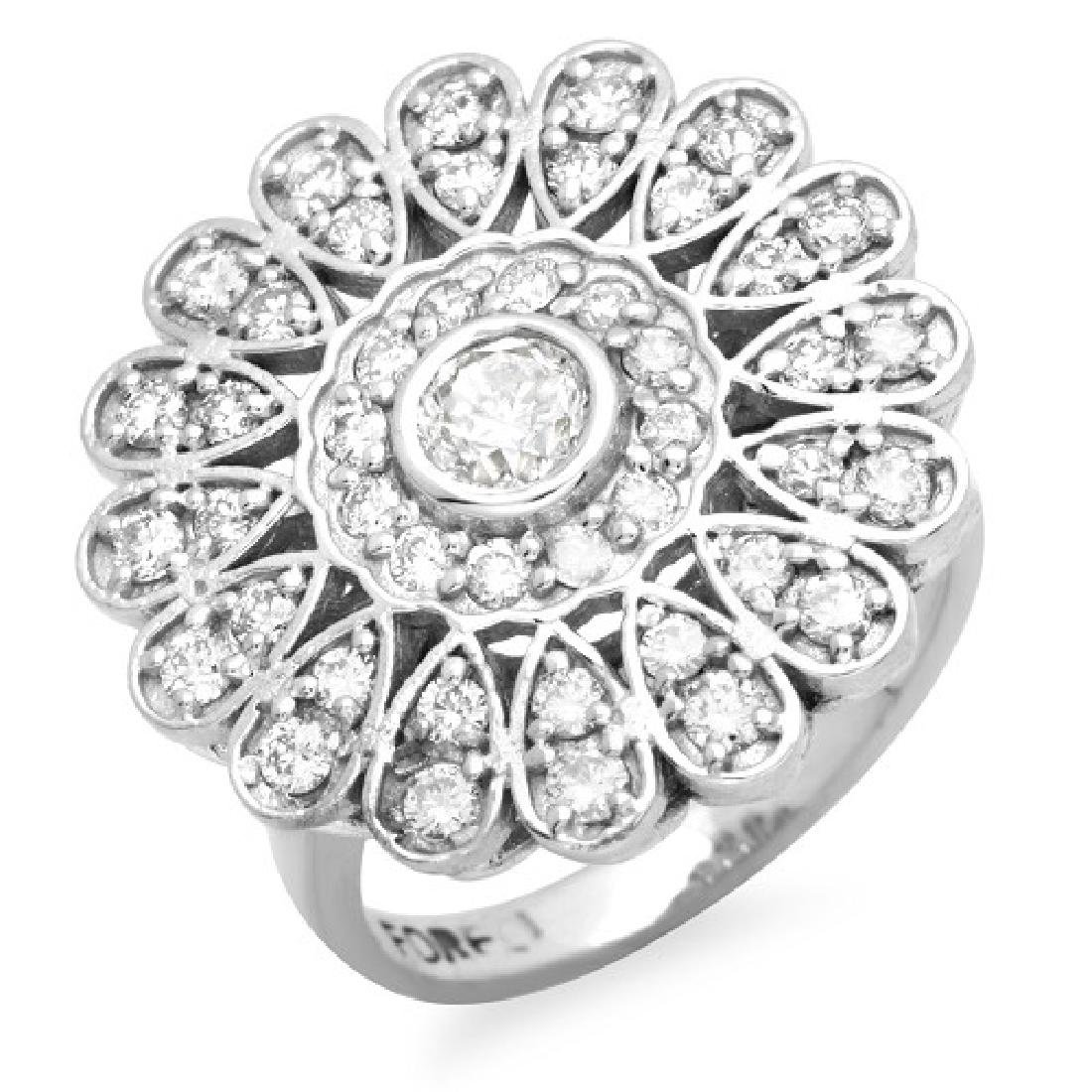 1.25 Carat Natural Diamond 18K Solid White Gold Ring