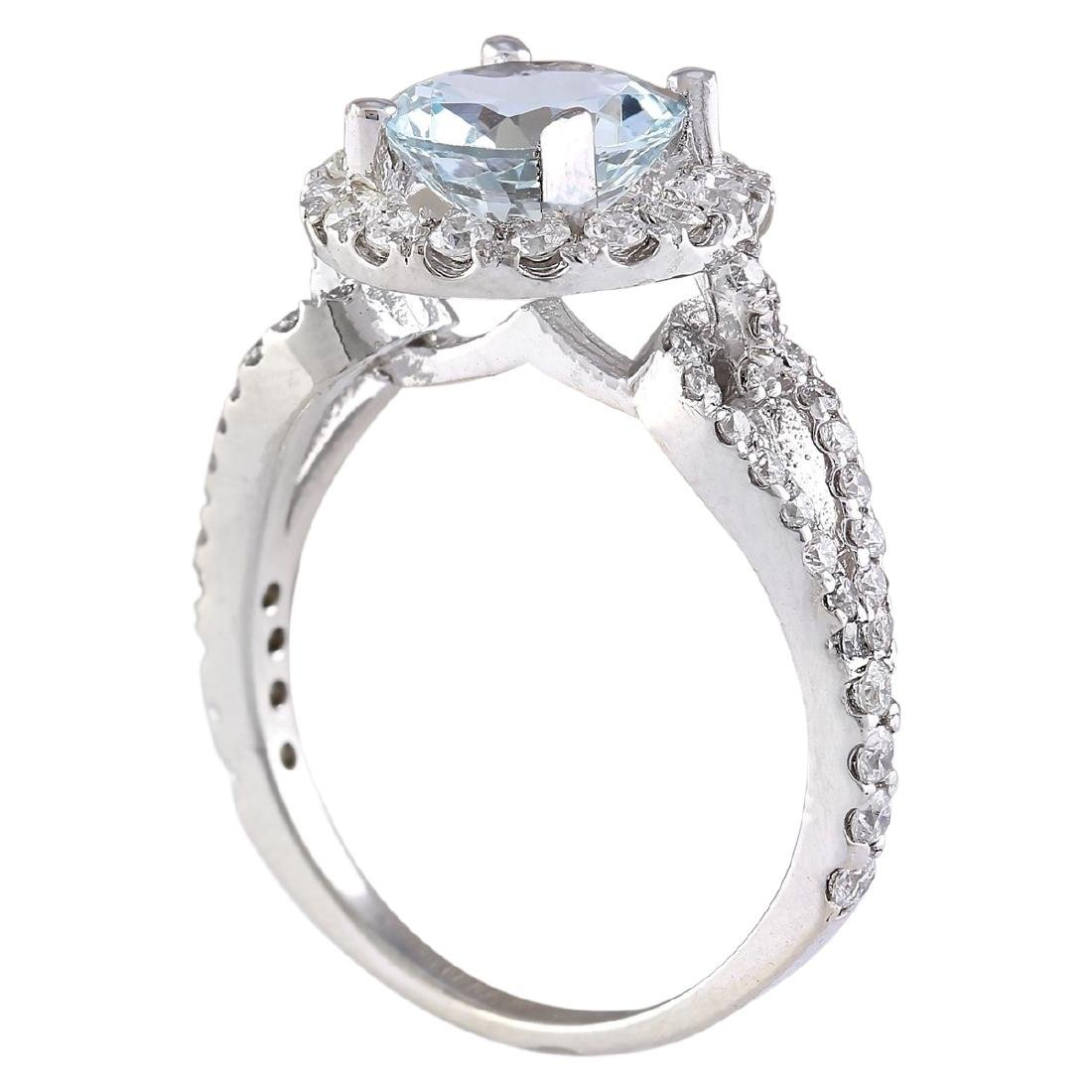 2.34 CTW Natural Aquamarine And Diamond Ring In 18K - 3
