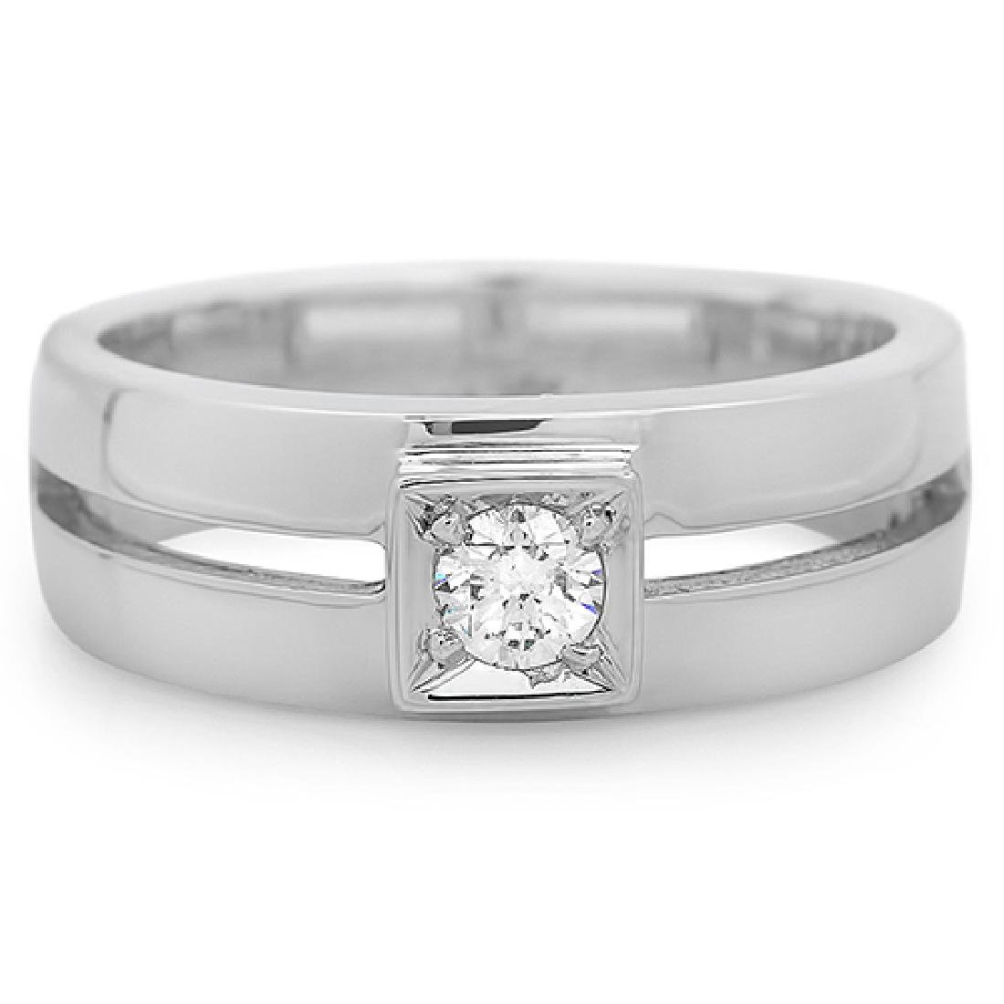 Mens 0.24 Carat Natural Diamond 18K Solid White Gold