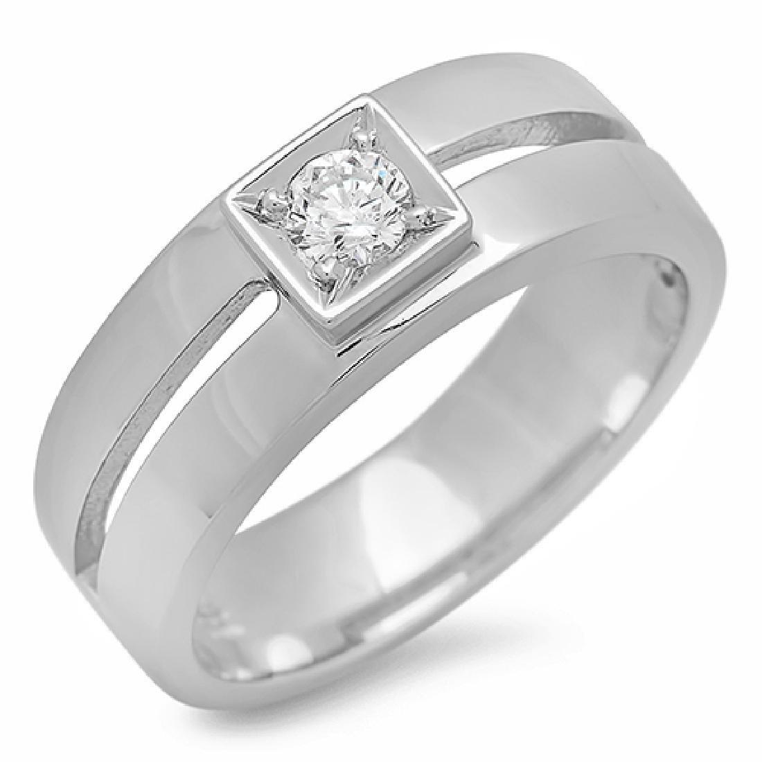 Mens 0.24 Carat Natural Diamond 18K Solid White Gold - 2