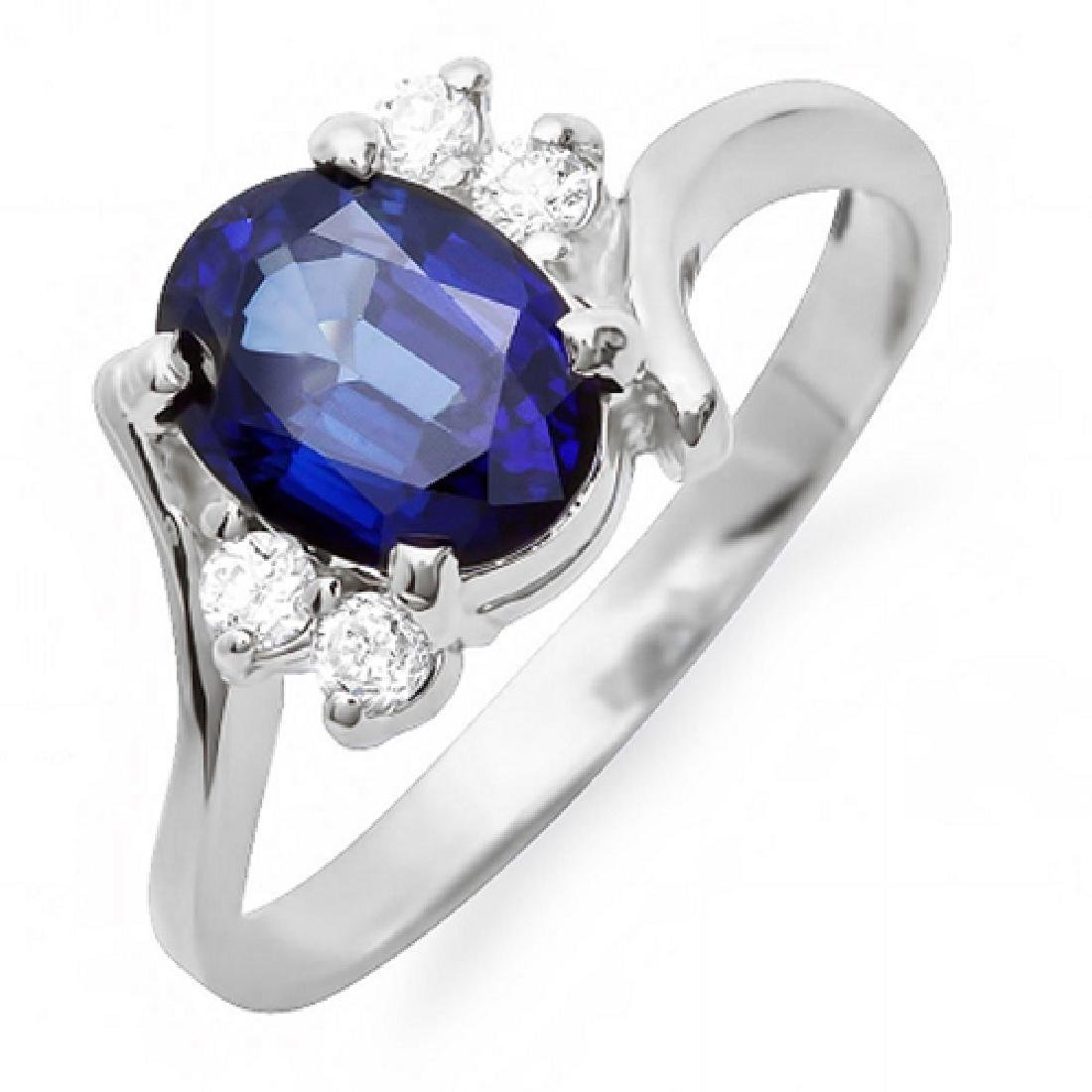 2.10 Carat Natural Sapphire 18K Solid White Gold