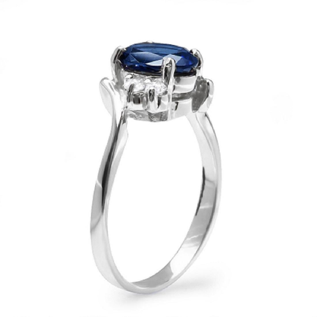2.10 Carat Natural Sapphire 18K Solid White Gold - 2
