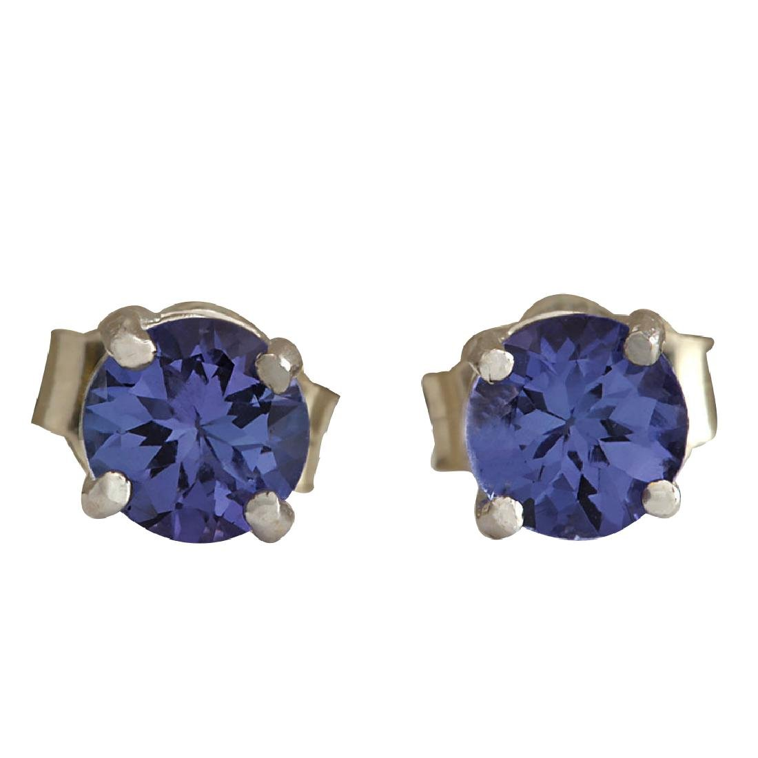 1.00CTW Natural Tanzanite Earrings In 18K Solid White