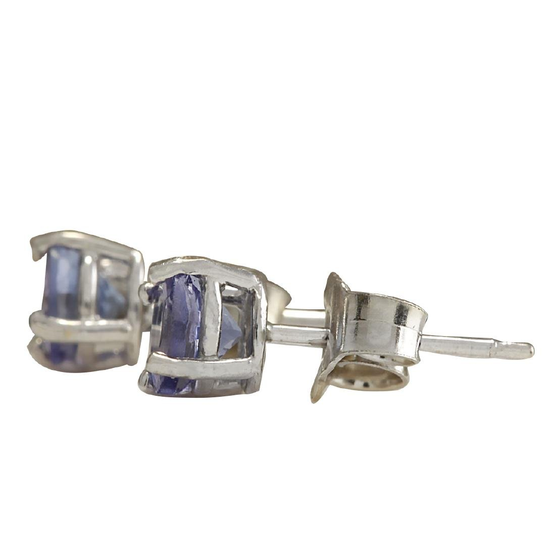 1.00CTW Natural Tanzanite Earrings In 18K Solid White - 2