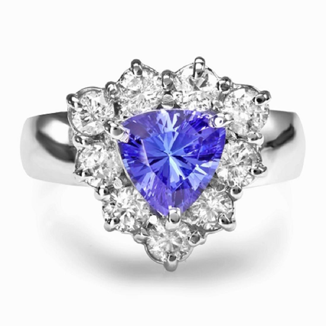 2.40 Carat Natural Tanzanite 18K Solid White Gold
