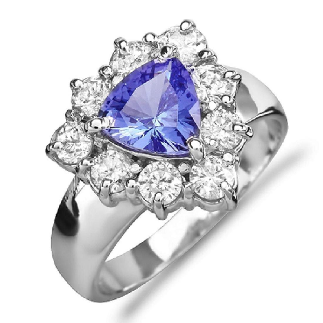 2.40 Carat Natural Tanzanite 18K Solid White Gold - 2
