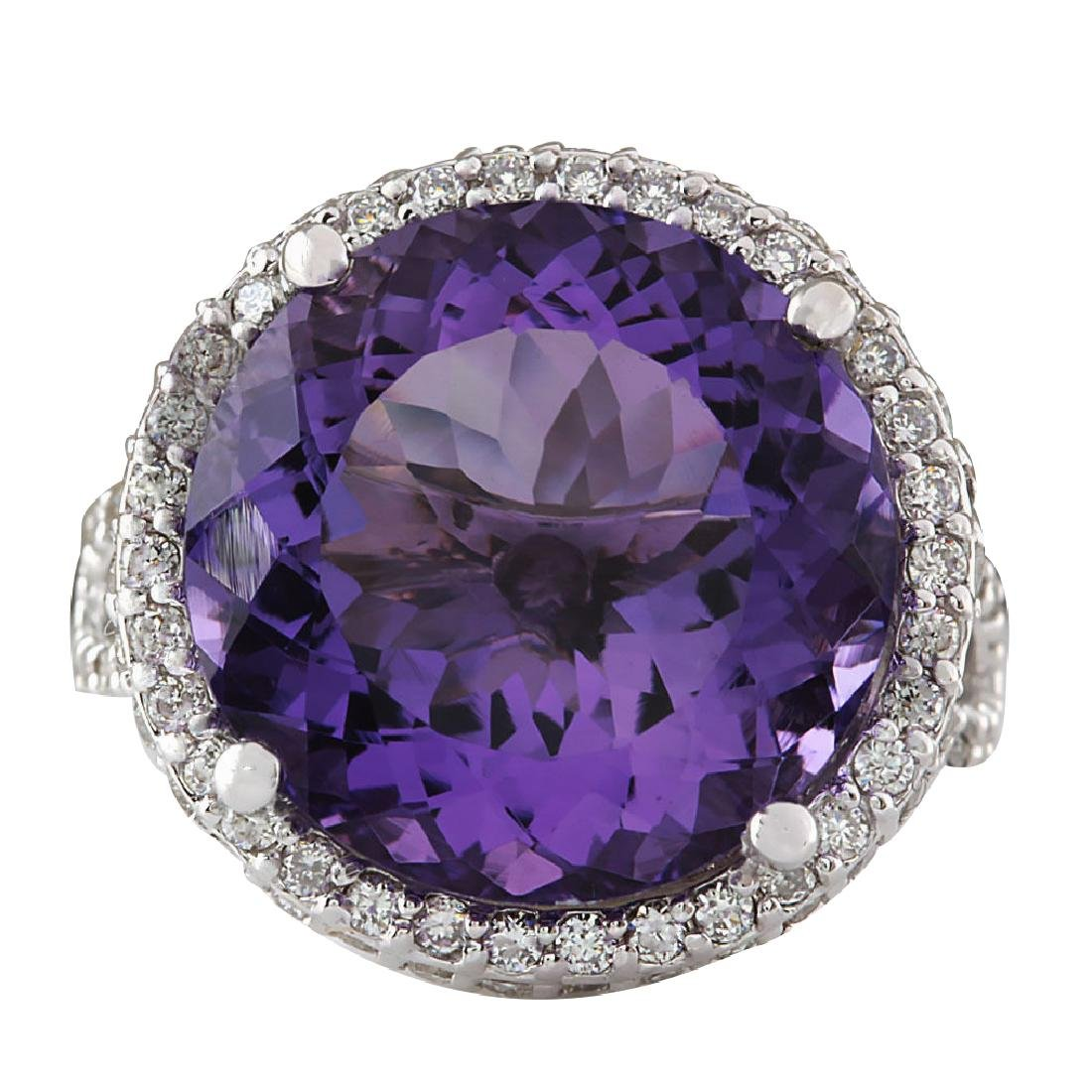 13.81CTW Natural Amethyst And Diamond Ring In 18K Solid