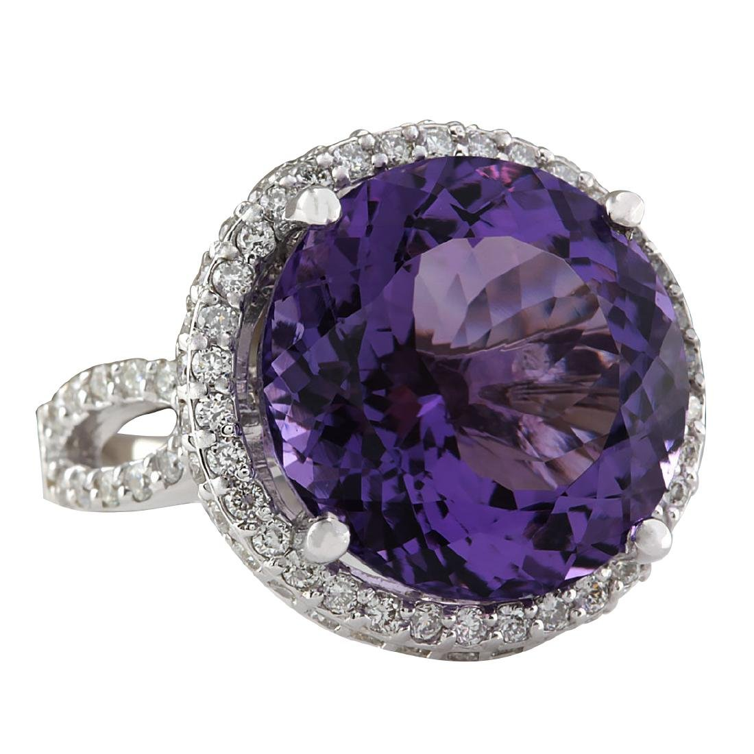 13.81CTW Natural Amethyst And Diamond Ring In 18K Solid - 2