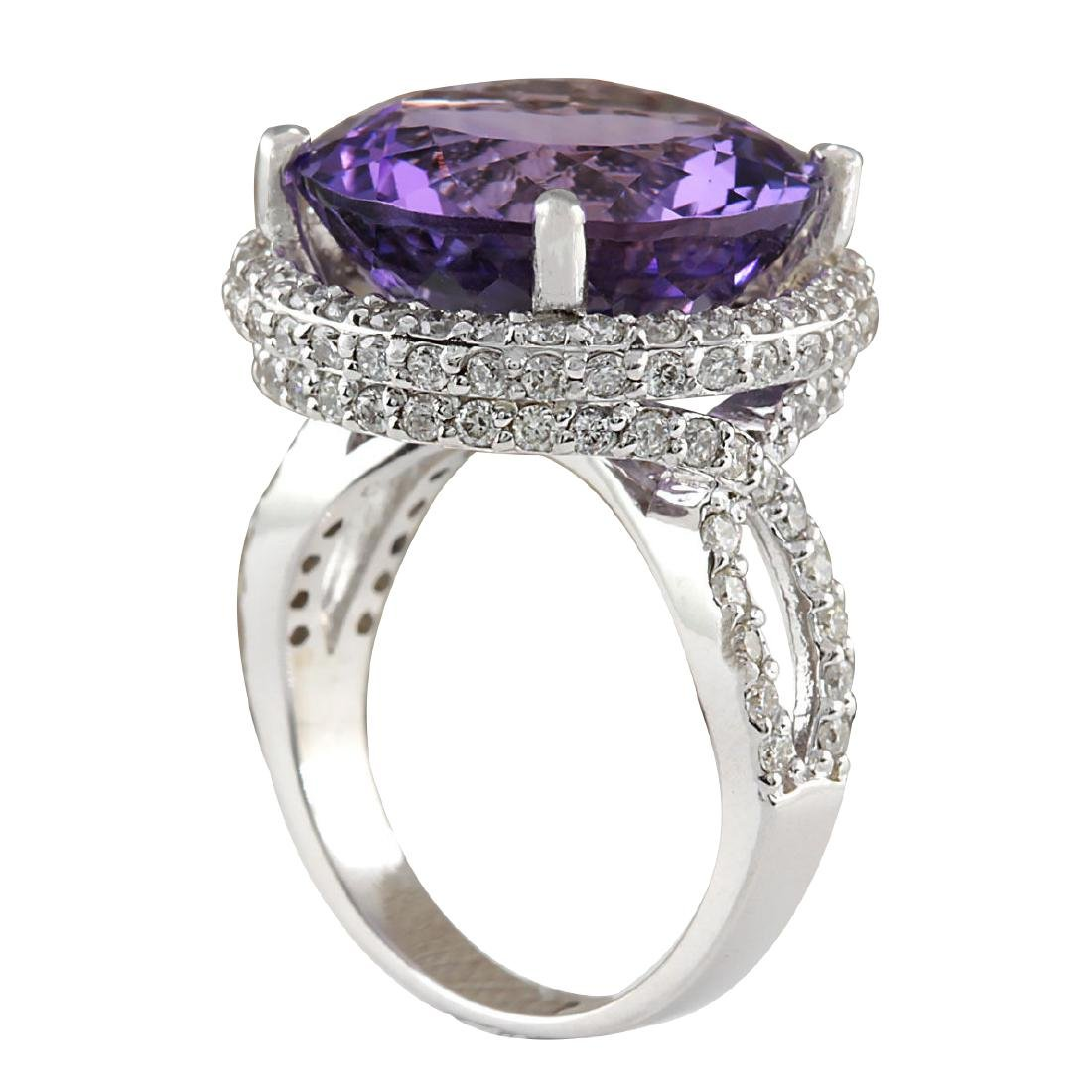 13.81CTW Natural Amethyst And Diamond Ring In 18K Solid - 3