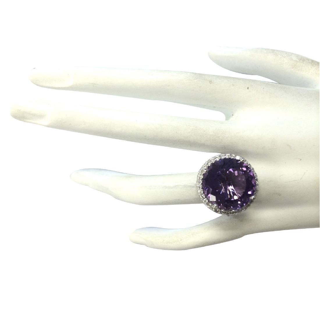 13.81CTW Natural Amethyst And Diamond Ring In 18K Solid - 4