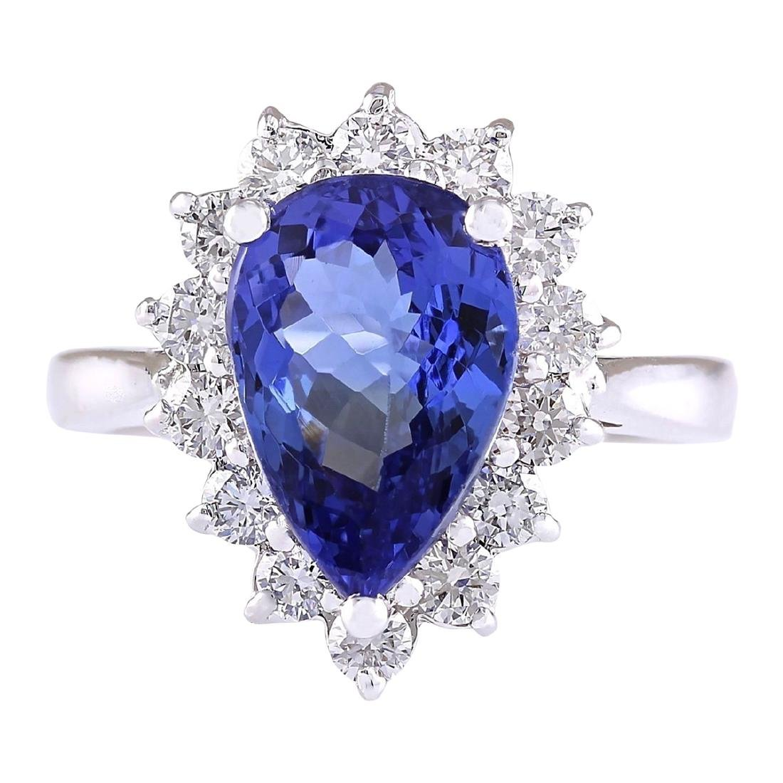 4.07 CTW Natural Blue Tanzanite And Diamond Ring 18K