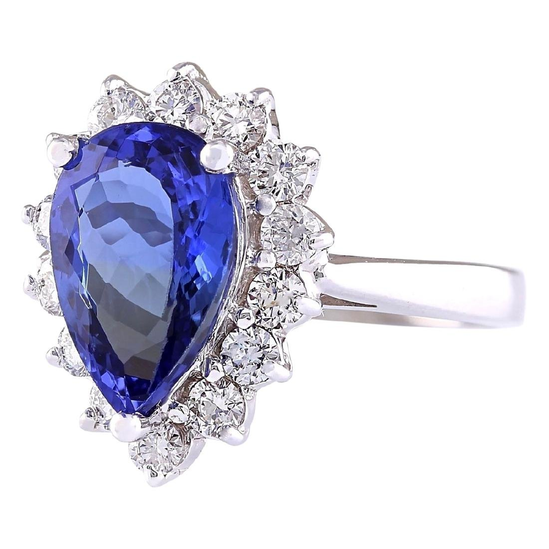 4.07 CTW Natural Blue Tanzanite And Diamond Ring 18K - 2