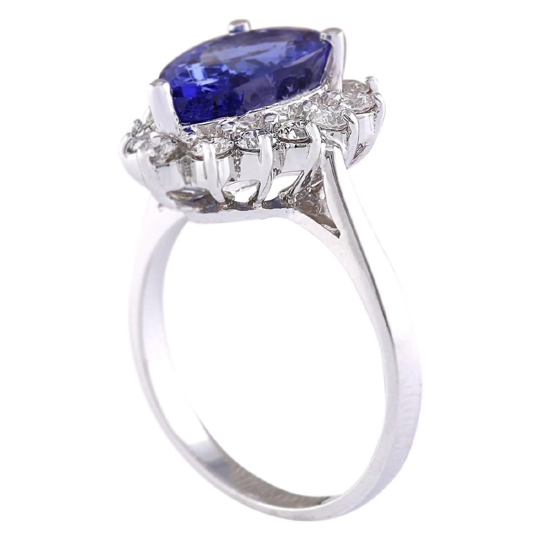4.07 CTW Natural Blue Tanzanite And Diamond Ring 18K - 3