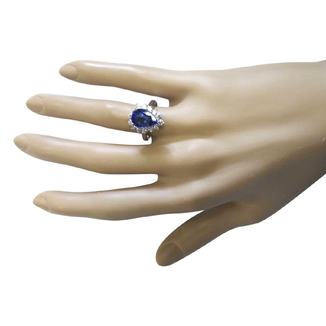4.07 CTW Natural Blue Tanzanite And Diamond Ring 18K - 4
