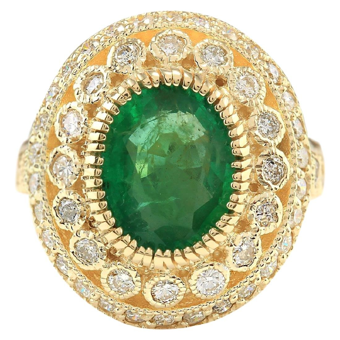 3.45 CTW Natural Emerald And Diamond Ring In 18K Yellow