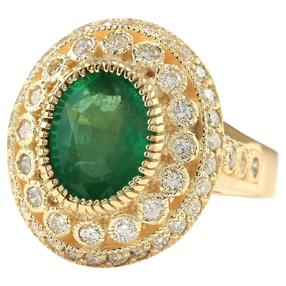 3.45 CTW Natural Emerald And Diamond Ring In 18K Yellow - 2