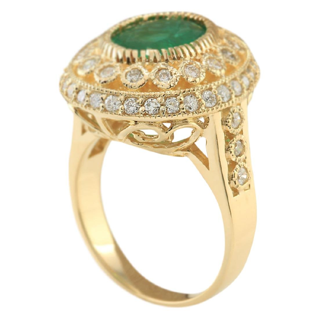3.45 CTW Natural Emerald And Diamond Ring In 18K Yellow - 3