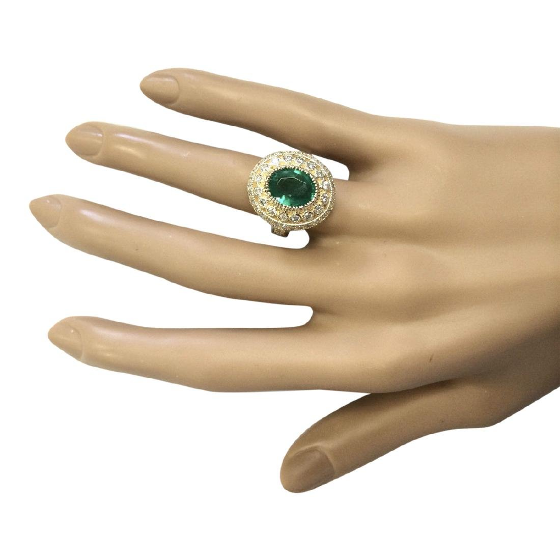 3.45 CTW Natural Emerald And Diamond Ring In 18K Yellow - 4