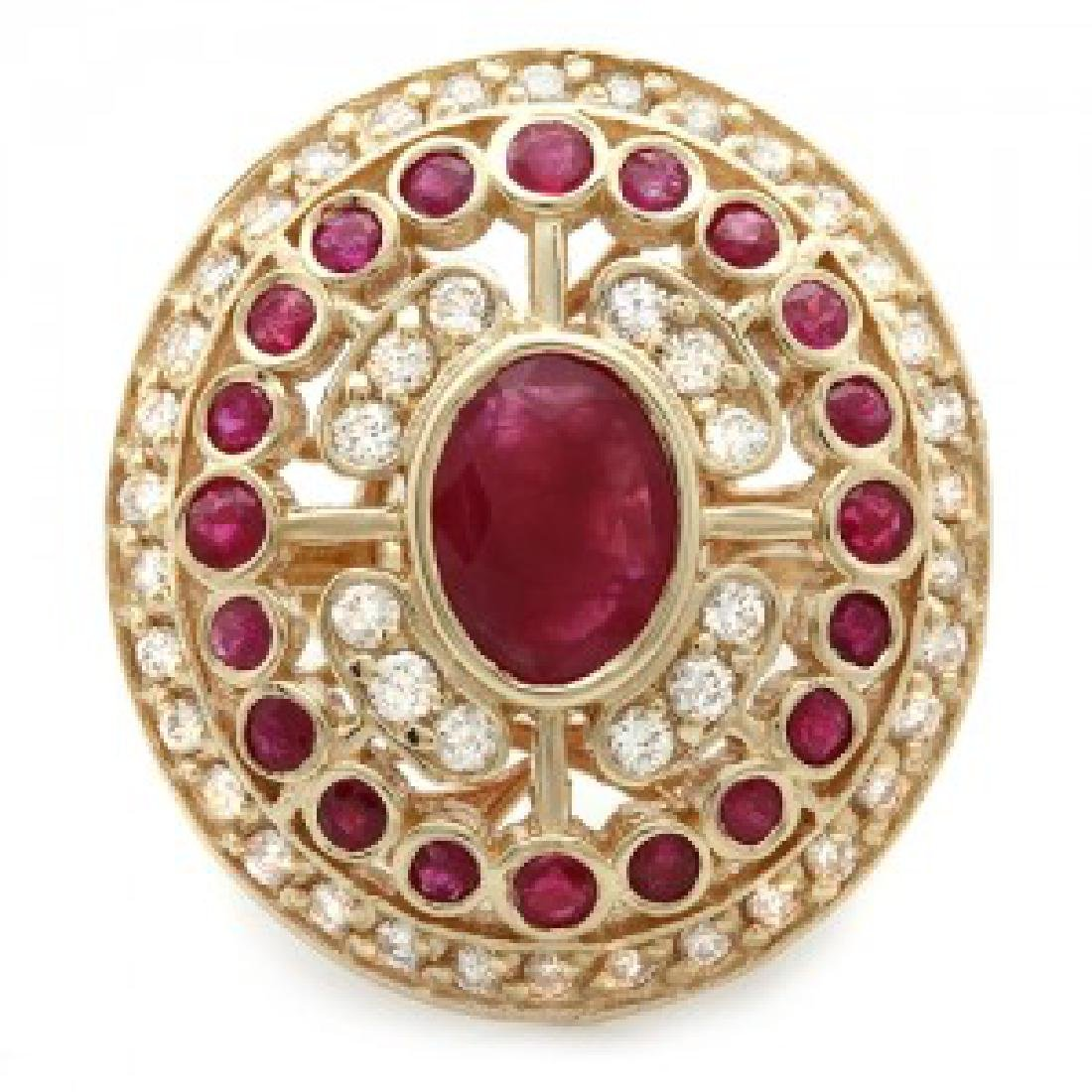 2.60 Carat Natural Ruby 18K Solid Yellow Gold Diamond - 2