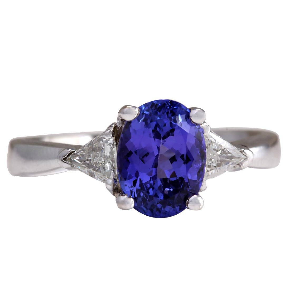 2.55CTW Natural Blue Tanzanite And Diamond Ring In 18K