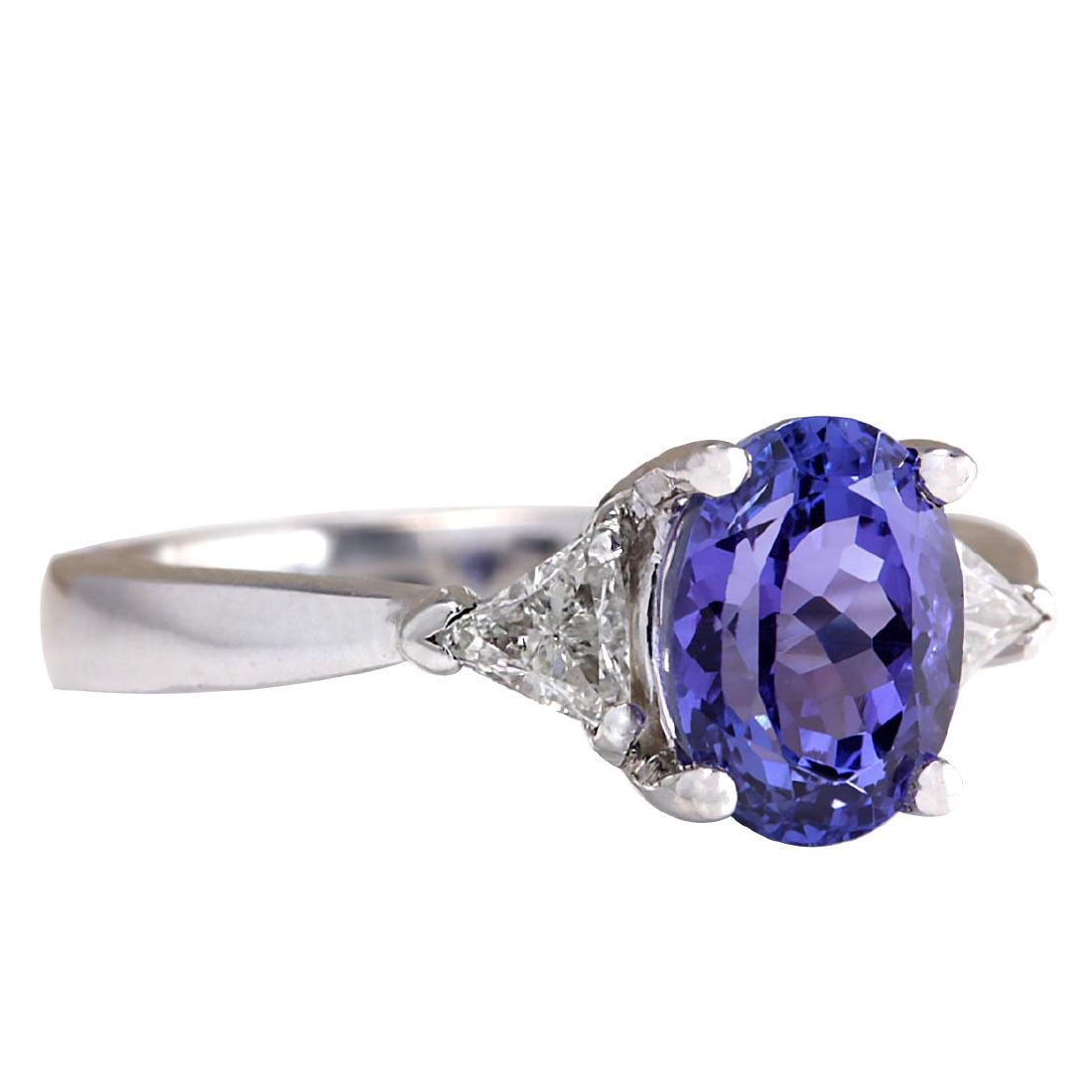 2.55CTW Natural Blue Tanzanite And Diamond Ring In 18K - 2