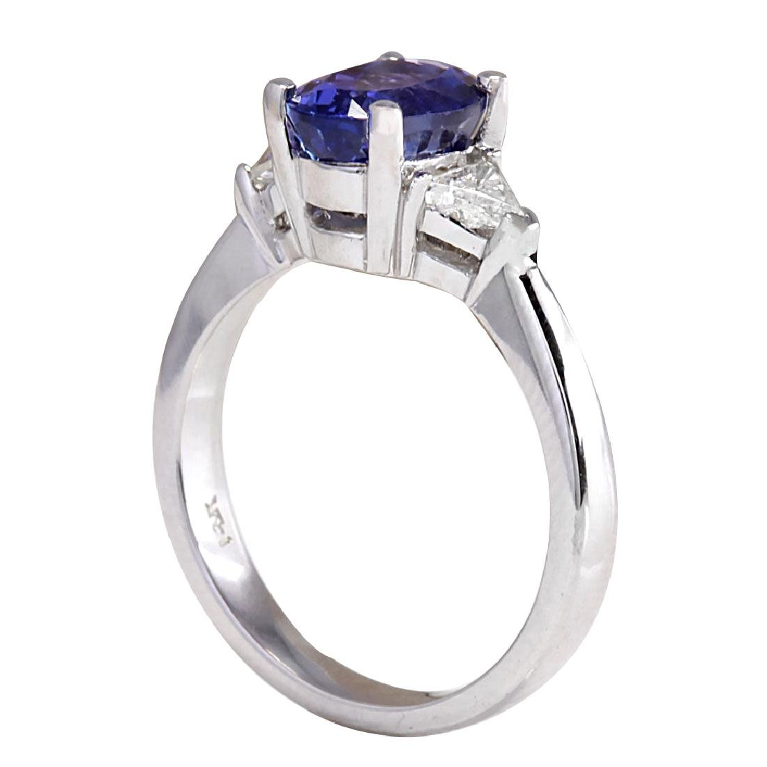 2.55CTW Natural Blue Tanzanite And Diamond Ring In 18K - 3