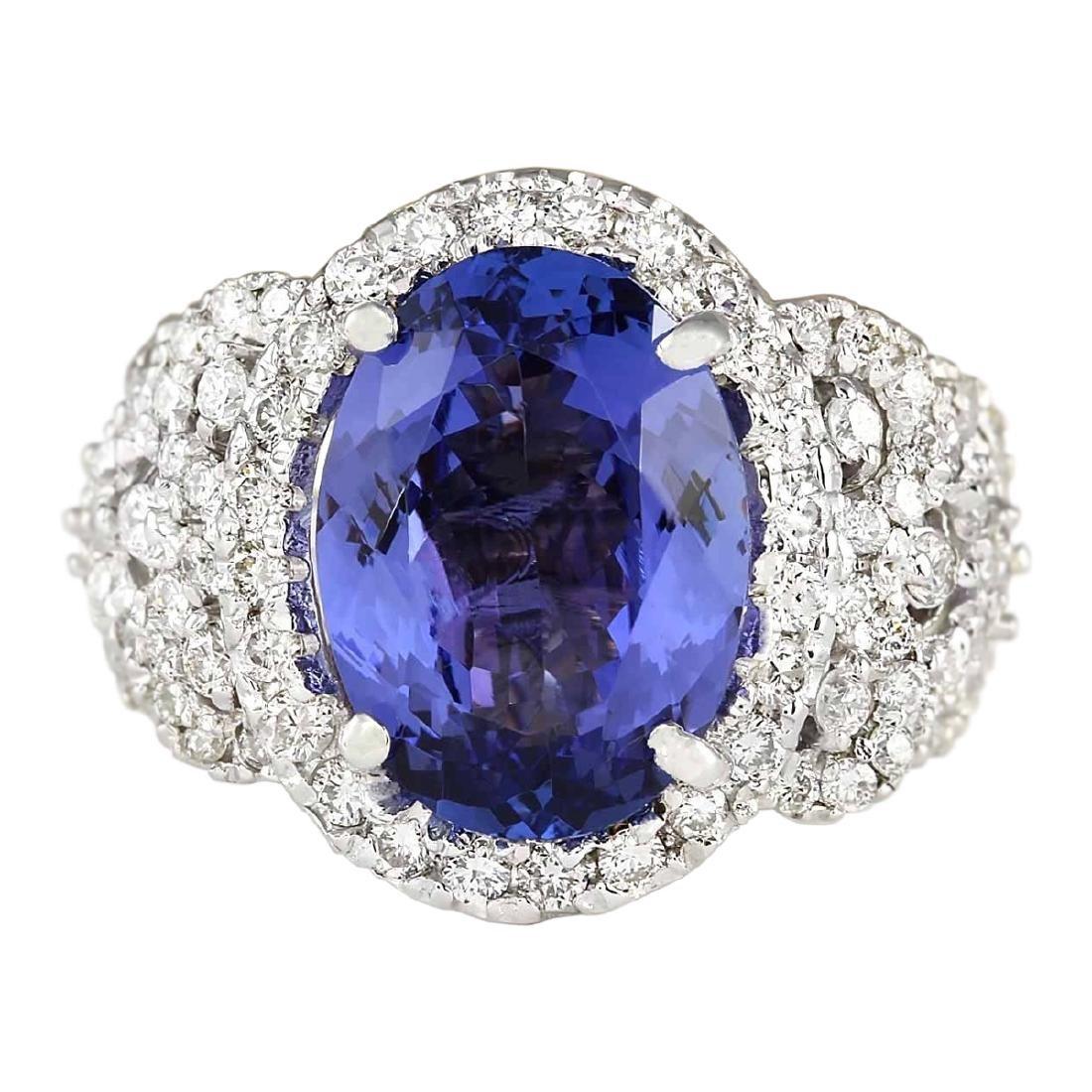 7.60 CTW Natural Blue Tanzanite And Diamond Ring 18K