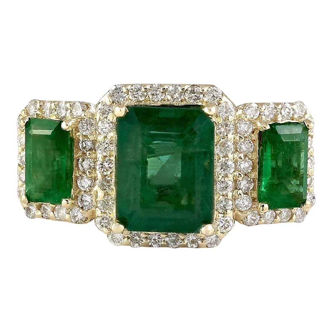 4.56 CTW Natural Emerald And Diamond Ring In 18K Yellow