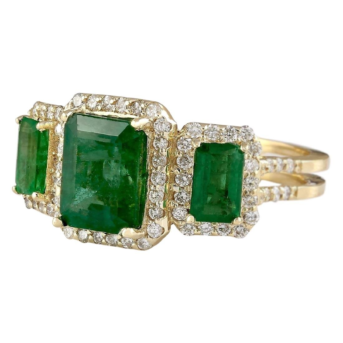 4.56 CTW Natural Emerald And Diamond Ring In 18K Yellow - 2