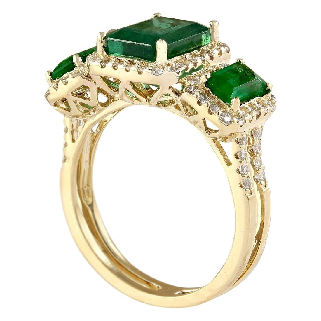 4.56 CTW Natural Emerald And Diamond Ring In 18K Yellow - 3