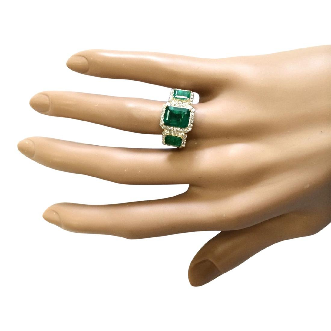 4.56 CTW Natural Emerald And Diamond Ring In 18K Yellow - 4