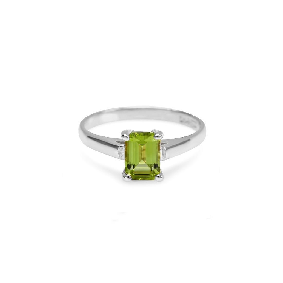 2.00 Carat Natural Peridot 18K Solid White Gold  Ring - 2