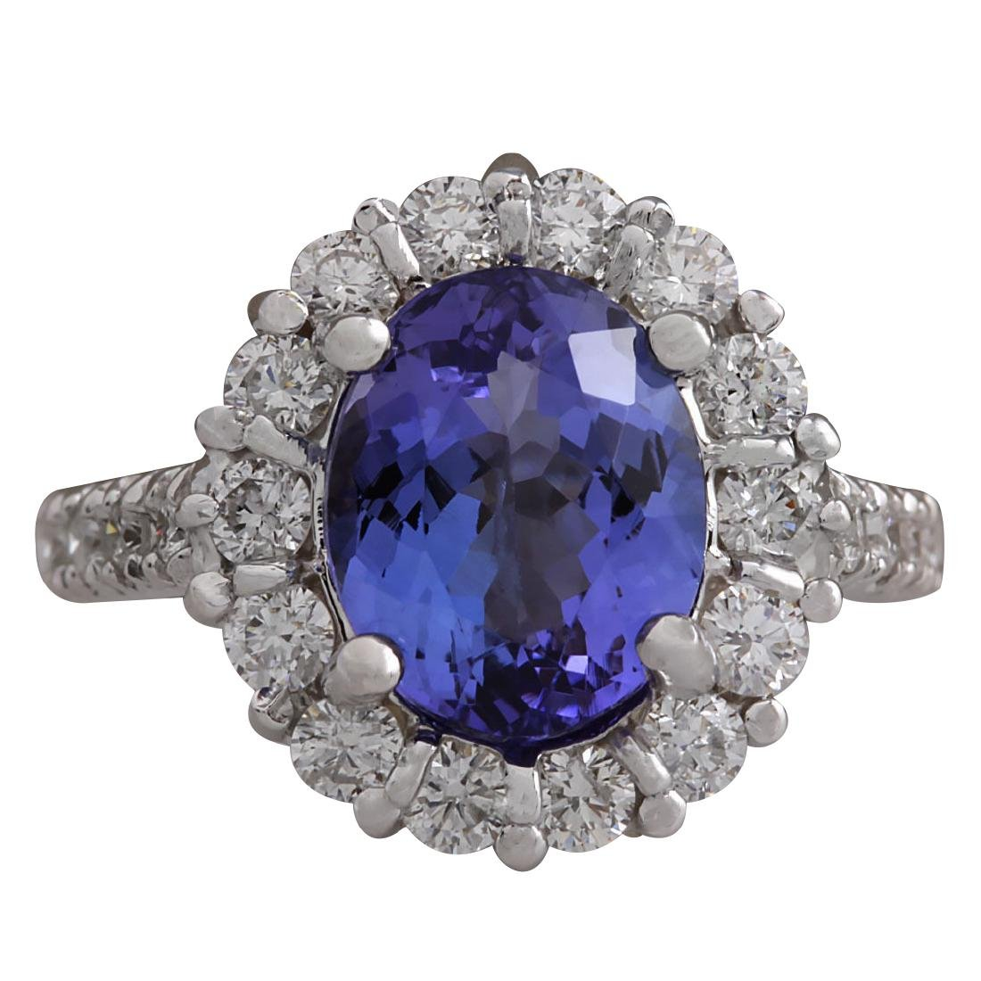 4.54CTW Natural Blue Tanzanite And Diamond Ring 18K