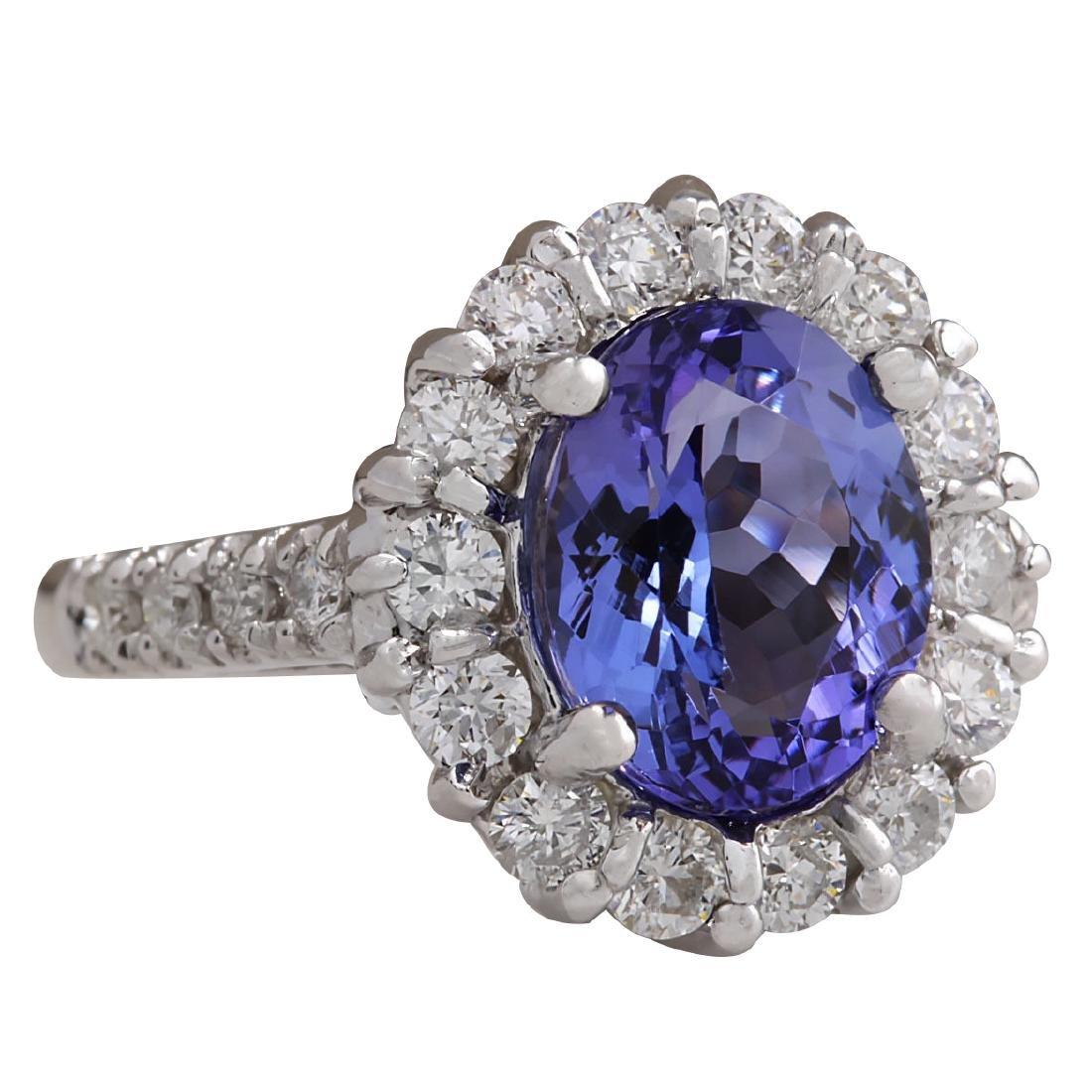 4.54CTW Natural Blue Tanzanite And Diamond Ring 18K - 2