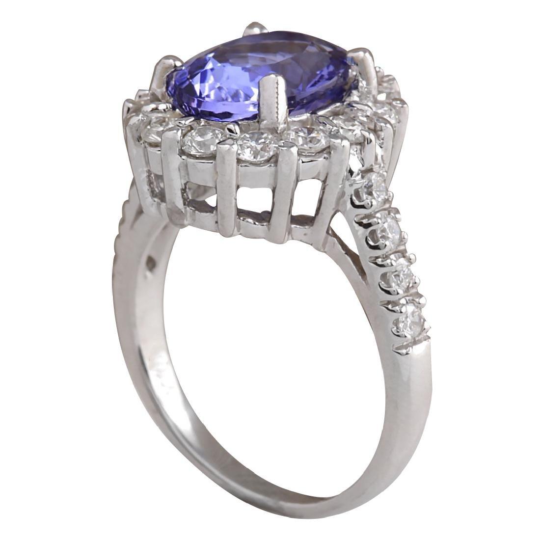 4.54CTW Natural Blue Tanzanite And Diamond Ring 18K - 3