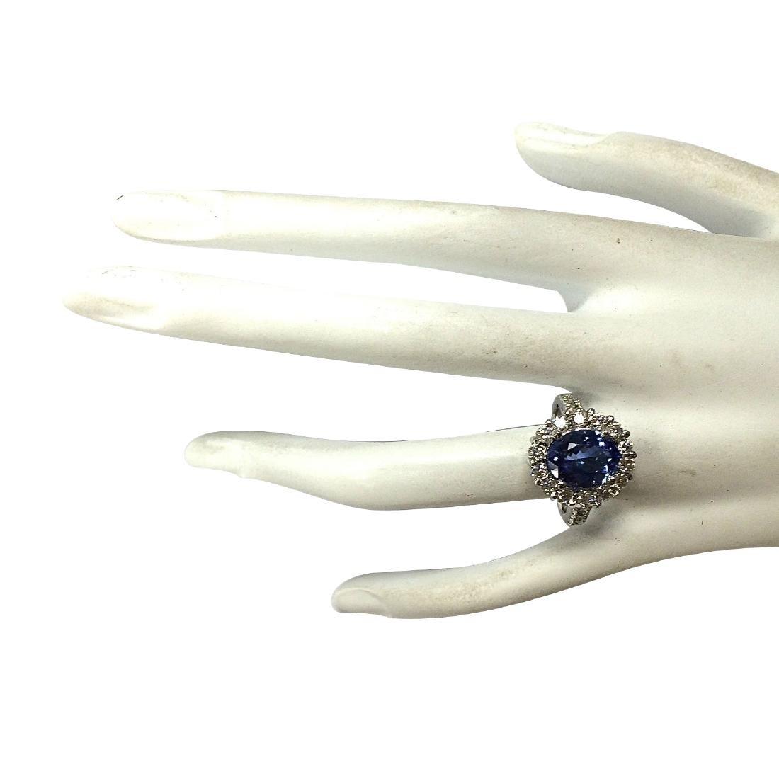 4.54CTW Natural Blue Tanzanite And Diamond Ring 18K - 4