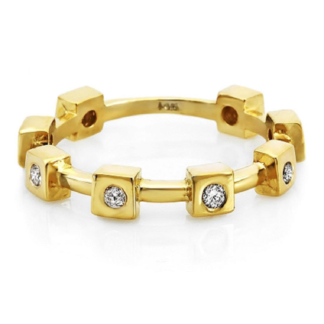 Mens 0.25 Carat Natural Diamond 18K Solid Yellow Gold