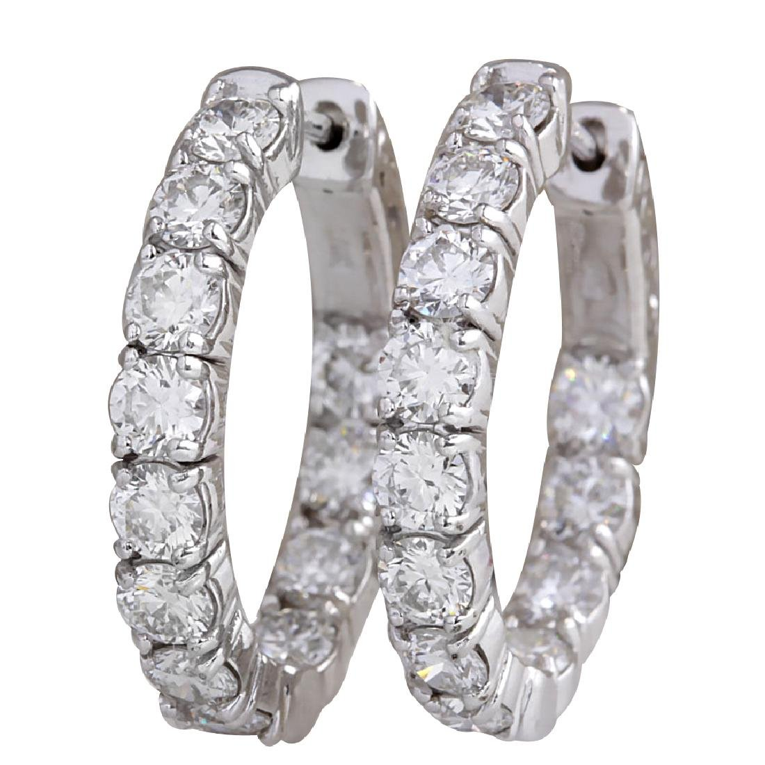 3.40CTW Natural Diamond Hoop Earrings 18K Solid White