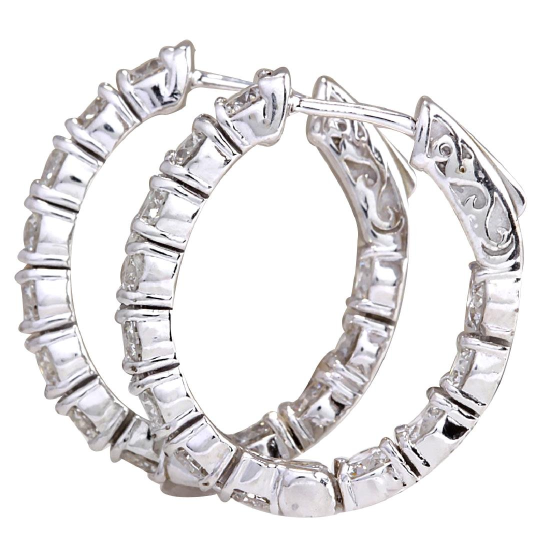 3.40CTW Natural Diamond Hoop Earrings 18K Solid White - 2