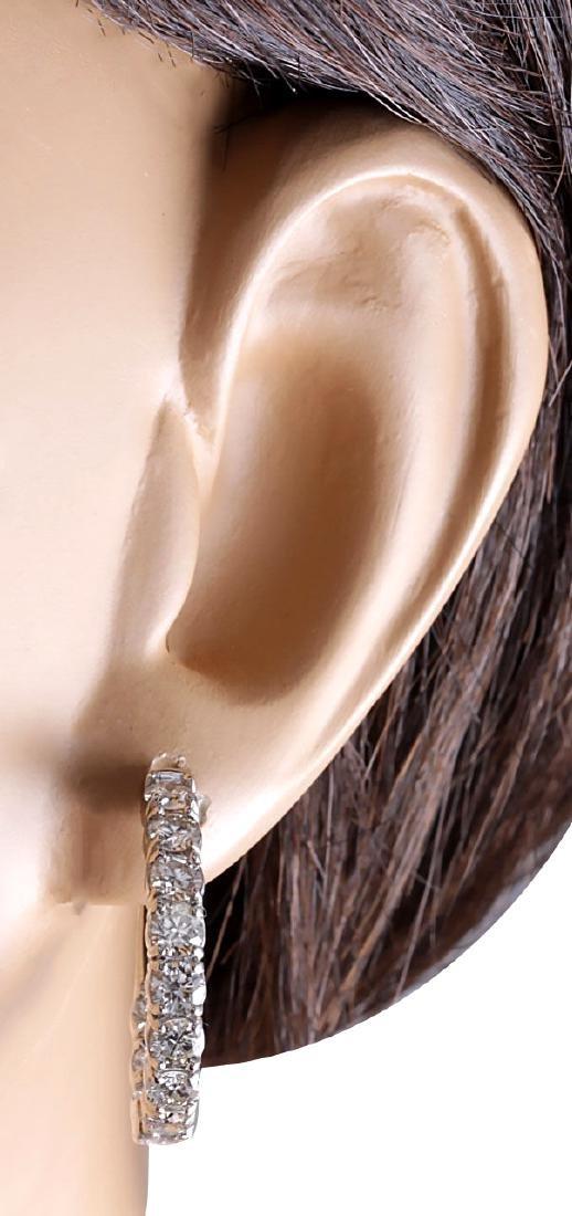 3.40CTW Natural Diamond Hoop Earrings 18K Solid White - 3