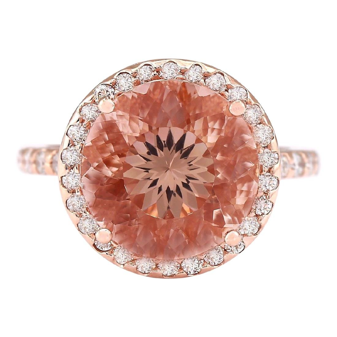 6.80 CTW Natural Morganite And Diamond Ring In 18K Rose