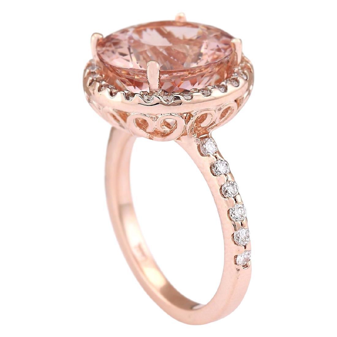 6.80 CTW Natural Morganite And Diamond Ring In 18K Rose - 3