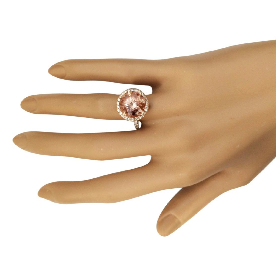 6.80 CTW Natural Morganite And Diamond Ring In 18K Rose - 4