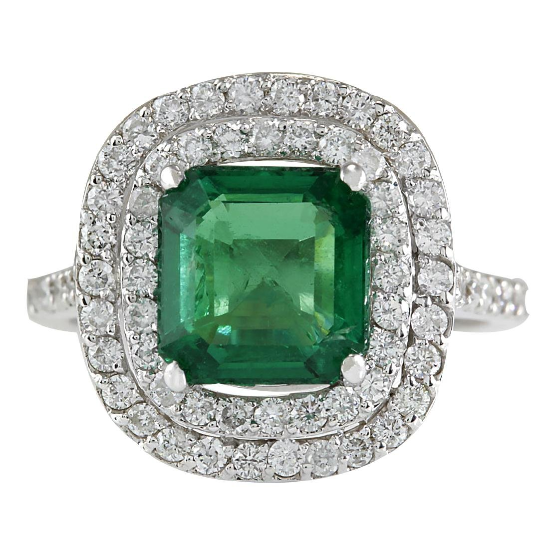 3.62CTW Natural Emerald And Diamond Ring In 18K White