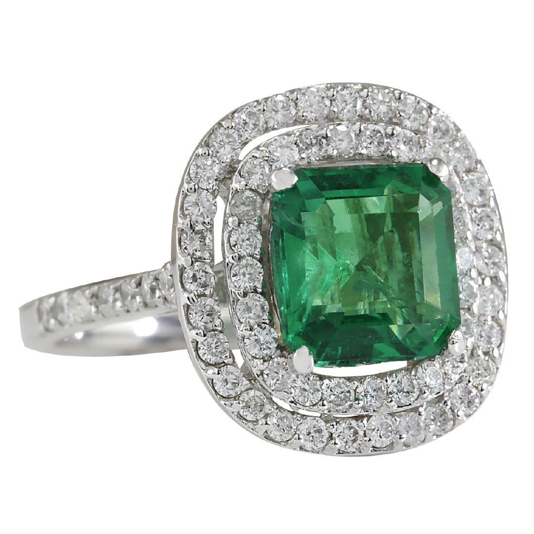 3.62CTW Natural Emerald And Diamond Ring In 18K White - 2