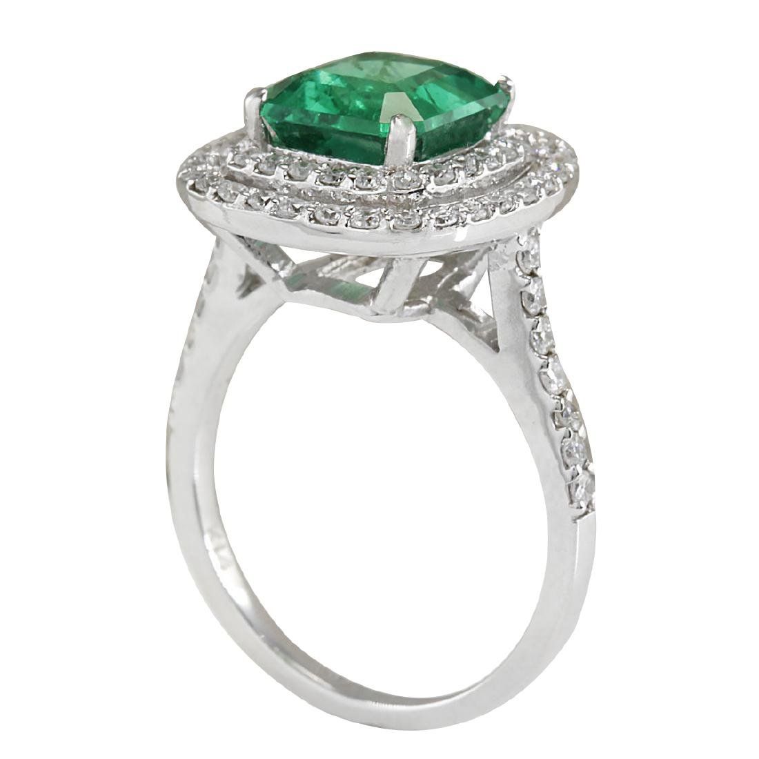 3.62CTW Natural Emerald And Diamond Ring In 18K White - 3
