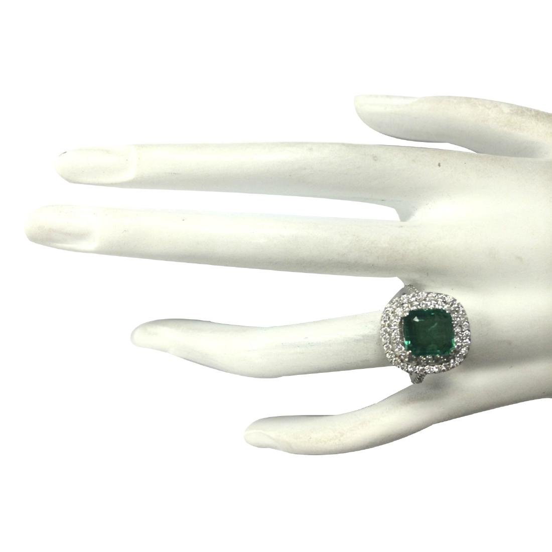 3.62CTW Natural Emerald And Diamond Ring In 18K White - 4