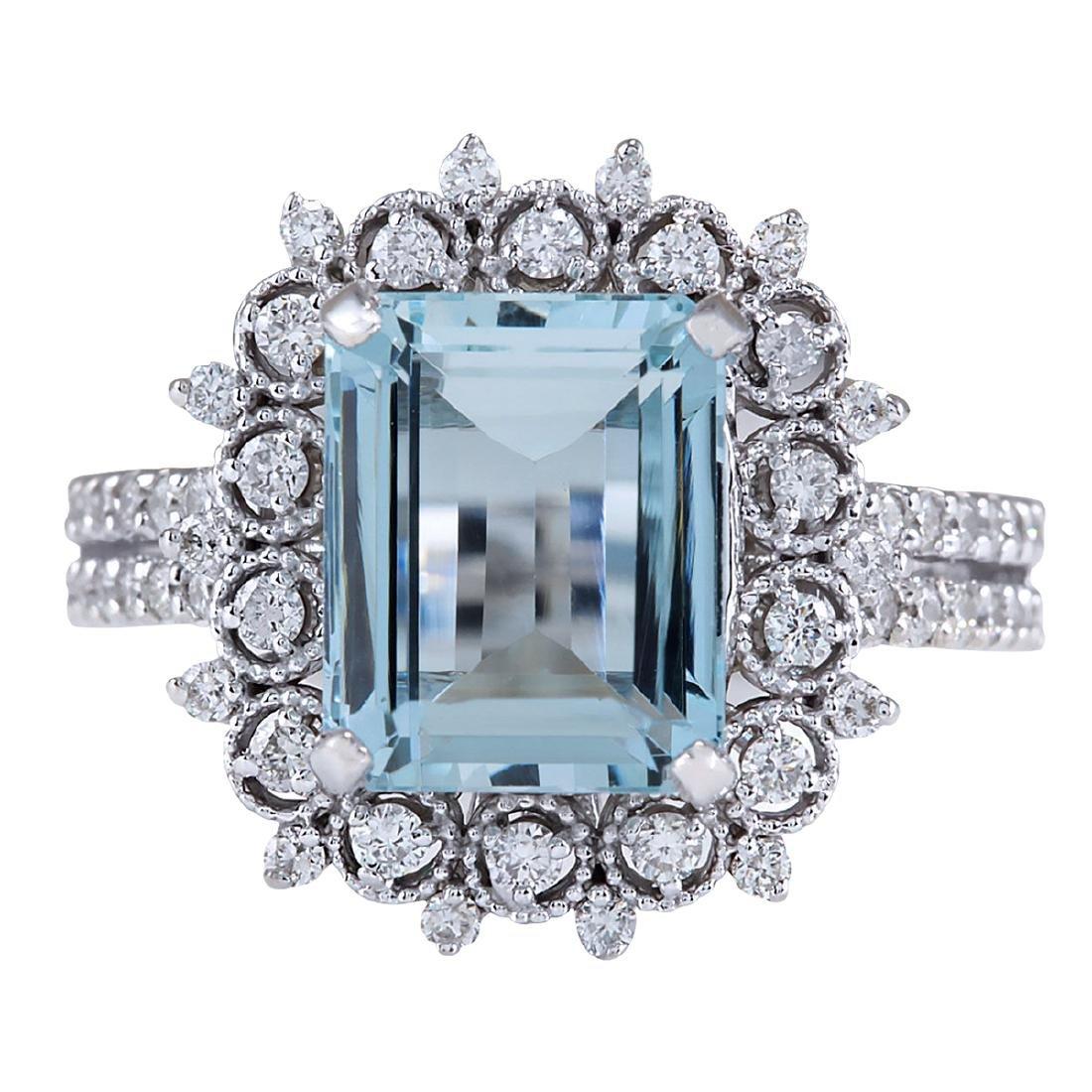 4.15CTW Natural Aquamarine And Diamond Ring In 18K